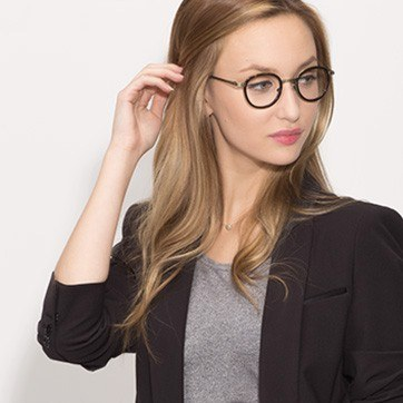 Tortoise Bourgeois M -  Fashion Metal Eyeglasses - model image