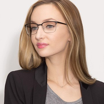Black Silver Manchester -  Metal Eyeglasses - model image