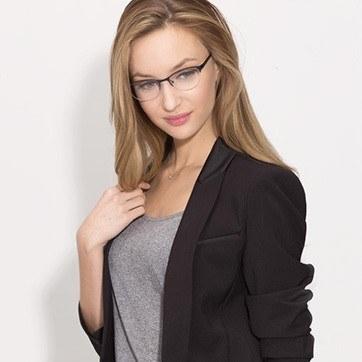 Navy Melody -  Metal Eyeglasses - model image