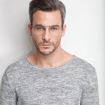 Silver Tux -  Metal Eyeglasses - model image