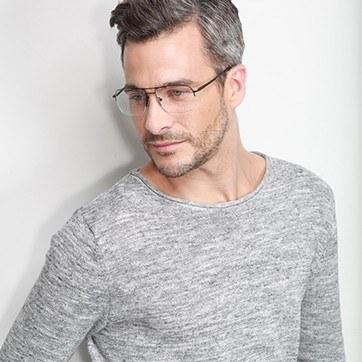 Black Tux -  Metal Eyeglasses - model image