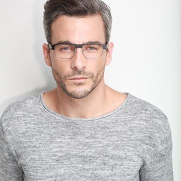 Matte Black Wallace -  Metal Eyeglasses - model image