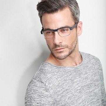 Matte Navy Wallace -  Metal Eyeglasses - model image