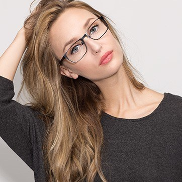 Black Dublin -  Classic Metal Eyeglasses - model image