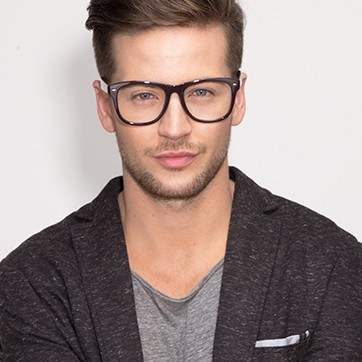Cordovan Myrtle -  Lightweight Plastic Eyeglasses - model image