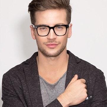 Black Oxford -  Fashion Wood Texture Eyeglasses - model image