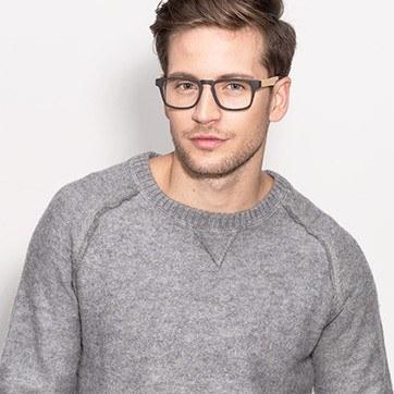 Black Lincoln -  Designer Wood Texture Eyeglasses - model image