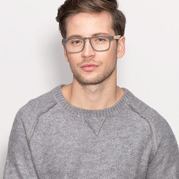 Gray Lincoln -  Designer Wood Texture Eyeglasses - model image