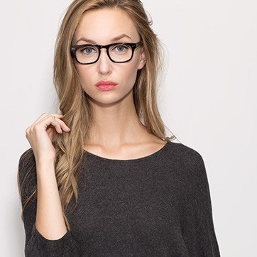 Black Carla -  Acetate Eyeglasses - model image