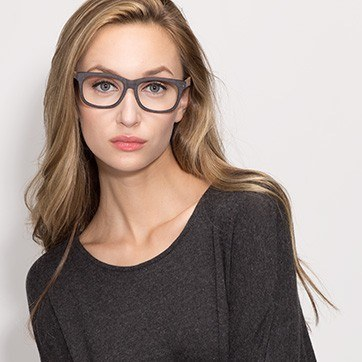 Black White pine -  Geek Acetate Eyeglasses - model image