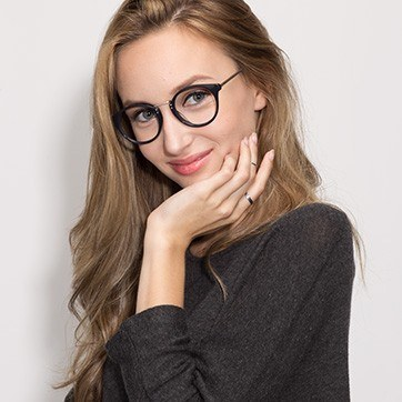 Navy  Get Lucky -  Classic Acetate Eyeglasses - model image