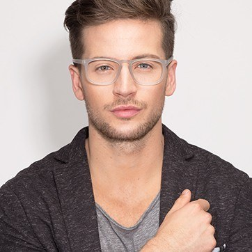 Matte Gray Rhode Island -  Fashion Acetate Eyeglasses - model image