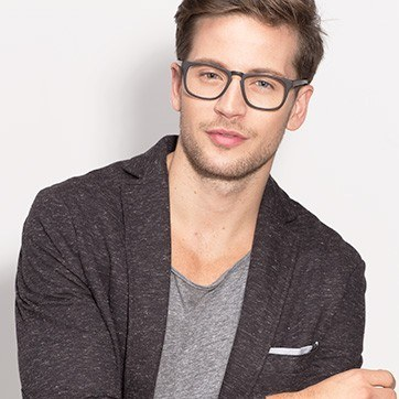 Matte Black Rhode Island -  Fashion Acetate Eyeglasses - model image