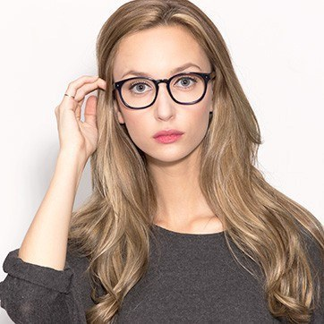 Navy Midnight -  Fashion Acetate Eyeglasses - model image
