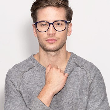 Navy Lisbon -  Designer Acetate Eyeglasses - model image