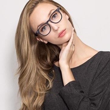 Matte Navy Providence -  Fashion Acetate Eyeglasses - model image