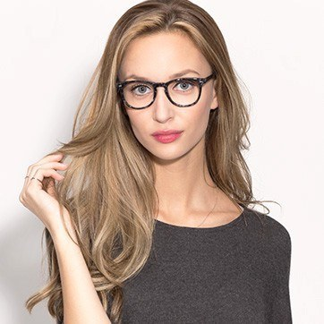 Gray/Floral Flume -  Classic Acetate Eyeglasses - model image