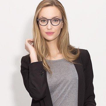 Navy  Sophie -  Acetate Eyeglasses - model image