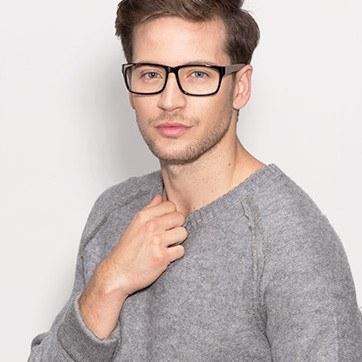 Black/Gray Lexington -  Classic Acetate Eyeglasses - model image