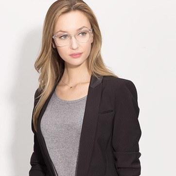 Clear Hepburn M -  Fashion Acetate Eyeglasses - model image