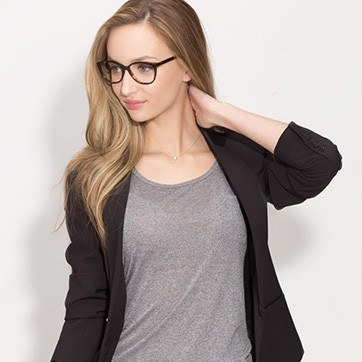 Tortoise Hepburn M -  Fashion Acetate Eyeglasses - model image