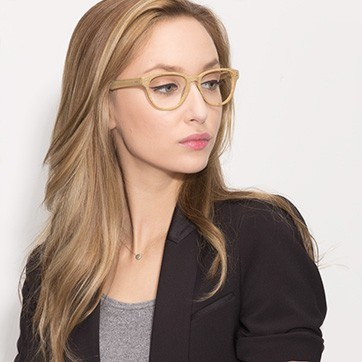 Yellow Light Year -  Fashion Wood Texture Eyeglasses - model image