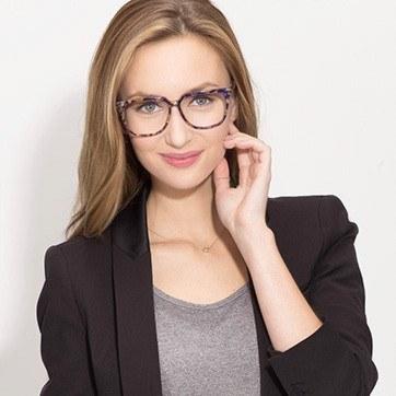 Blue Floral Capucine -  Fashion Acetate Eyeglasses - model image