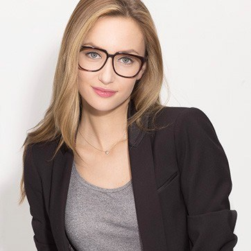 Tortoise Capucine -  Fashion Acetate Eyeglasses - model image
