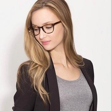 Brown Striped Confidence -  Fashion Acetate Eyeglasses - model image