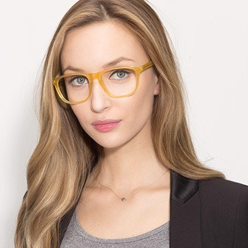 Yellow Damien -  Acetate Eyeglasses - model image