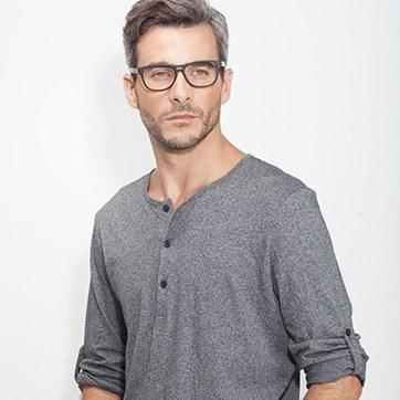Matte Black Leon -  Acetate Eyeglasses - model image
