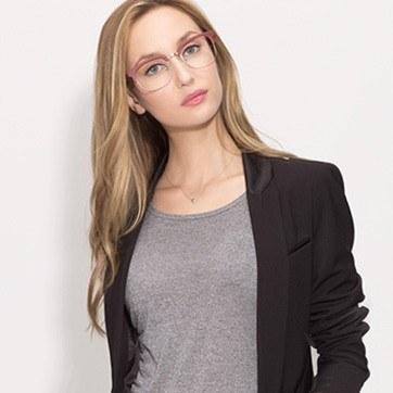 Matte Burgundy Yokote -  Metal Eyeglasses - model image