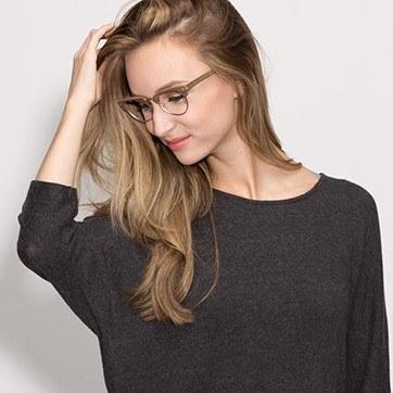 Brown Esteban -  Fashion Wood Texture Eyeglasses - model image
