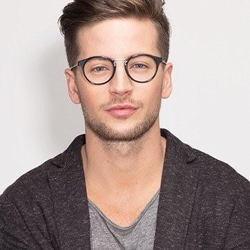 Black/Silver Get Lucky -  Fashion Acetate Eyeglasses - model image