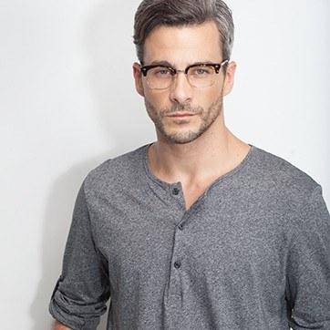 Dark Tortoise  Japan Morning -  Designer Acetate Eyeglasses - model image