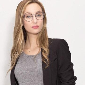 Gray Striped La Femme -  Designer Acetate Eyeglasses - model image
