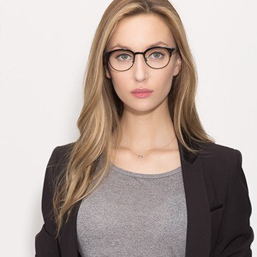 Black Lea -  Designer Acetate Eyeglasses - model image