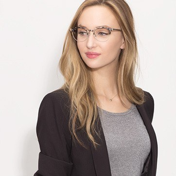 Ivory Tortoise Lea -  Designer Acetate Eyeglasses - model image