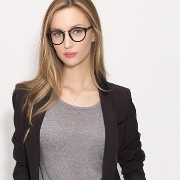 Black Rita -  Designer Acetate Eyeglasses - model image