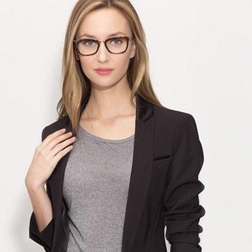 Tortoise Marlene -  Designer Acetate Eyeglasses - model image