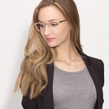 Pink First Light -  Designer Acetate Eyeglasses - model image