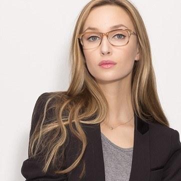 Brown Striped Hudson -  Fashion Acetate Eyeglasses - model image