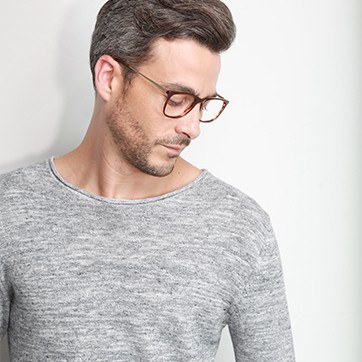 Brown Contrast -  Fashion Acetate Eyeglasses - model image