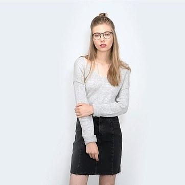 Charcoal Walnut Resonance -  Metal Eyeglasses - model image