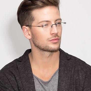 Black Palo Alto -  Lightweight Metal Eyeglasses - model image