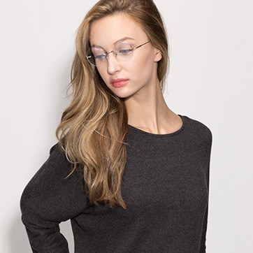 Silver Palo Alto -  Lightweight Metal Eyeglasses - model image