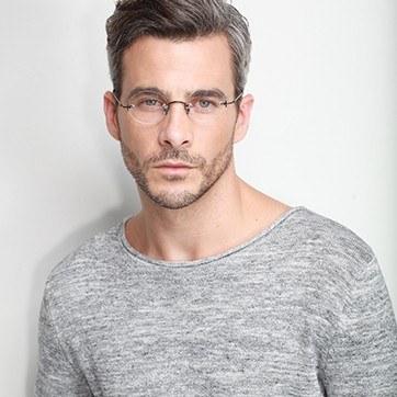 Black Silver Line -  Lightweight Metal Eyeglasses - model image