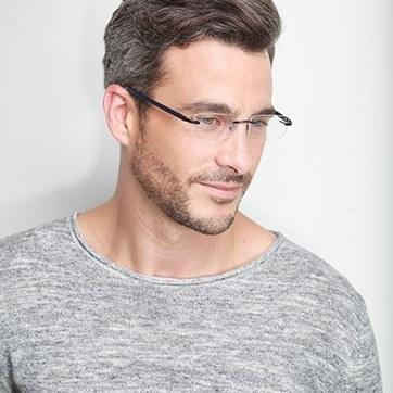 Blue Montecelio -  Lightweight Metal Eyeglasses - model image