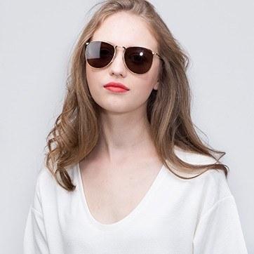 Bronze Fume -  Metal Sunglasses - model image