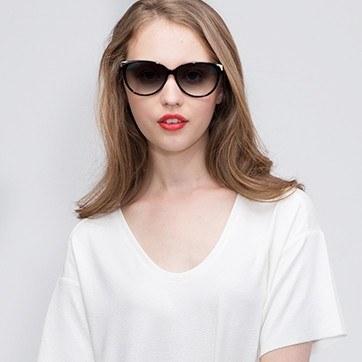 Black Lima -  Acetate Sunglasses - model image
